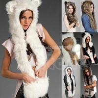 Wholesale Black Scarf Hood - Wholesale-Animal Warm Winter Faux Fur Hat Fluffy Plush Cap Hood Scarf Shawl Glove
