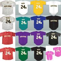 Wholesale 24 Buttons - Hooligans Bruno Mars 24 K Bianco Awards Gessato Baseball Jersey di Ritorno Al Passato Per Gli Uomini Stripe Cucito Button Down Glod