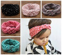 Wholesale Dot Bow Headband - baby polka dot crochet headbands girls Christmas hair braided head wrap infant cross style elastic headband babies Boutique hair accessories