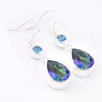 Wholesale Sterling Silver Mystic Topaz Earrings - 6 Pairs Luckyshine Superb Drop Shiny Rainbow Mystic Topaz Gems 925 Sterling Silver Plated Stud Earrings Russia Canada Stud Earrings Jewelry