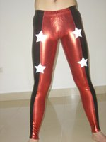 Wholesale Latex Clothing For Sale - Wholesale-Custom Red Latex Rubber Star Youth Wrestling Singlet Clothes Pants For Sale H012