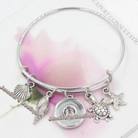 Wholesale Diy Women Summer Fashions - New Fashion DIY Interchangeable Snap Jewelry Summer Ocean Turtle Sea Shell Conch Starfish Charms Snap Bangles Bracelets for women Jewelry