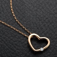 Wholesale 9k Pendant - Wholesale-GVBORI Natural Diamond 9K Gold Necklace Pendant Love heart Women Jewelry Gift Fine Jewelry