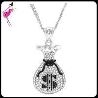 Wholesale lab diamond pendant - Lab Diamond 4 styles Chain Iced Out Gold Cash Money Bag Pendant Necklace Hip Hop Dollar Sign $ (NL030SB)