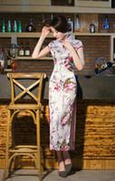 Wholesale Silk Long Cheongsam - Graceful Chinese Retro stand collar Cheongsam Silk Flowers Digital Printing Women's Slim Dresses improved Long Dresses#241
