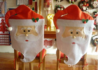 Wholesale Couples Chair - Santa Claus Chair Covers Christmas Couple Cloth Dining Table Decorations christmas decorations wholesaler home chair decoration CT01