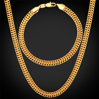 Wholesale Fancy Necklace Sets - Men's 18K Stamp Gold Chain for Men Jewelry Fancy Jewelry Design Gold Plated New Fashion Chain Necklace Bracelet Set