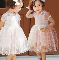Wholesale Girls Round Collar Dress - Summer 2015 new kids princess dress pure cotton lace children party dress short sleeve round collar girls one-piece dress 3-7age ab1281