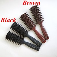 Wholesale Comb For Salon - Boar Bristle Hair Brush Brown Color Comb Brush for Hair Extensions Professional Hair Comb for Salon free shipping