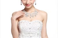 Wholesale Choker Style Wedding Dresses - South Korean Jewelry Studio Wedding Dress Accessories Set Auger Diamond Necklace Earrings Two-Piece Creative Style Teardrop-Shaped Diamond N