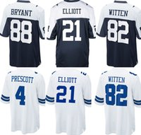 ec2dbe8a11e 2017 White Blue New Youth Kids 82 Jason Witten 4 Dak Prescott 9 Tony Romo 21  Ezekiel Elliott 88 Dez Bryant Cowboy#4 jerseys ...