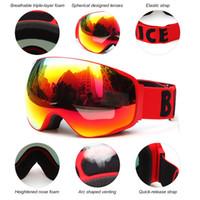 Wholesale Ski Helmet Glasses - Wide Vision Professional Ski Goggle Eyewear Anti-fog UV400 Ski Glasses Skiing Snowboard Men Women Snow Goggles Helmet Compatible