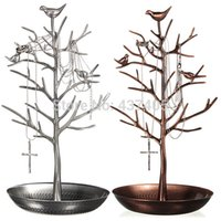 Wholesale Silver Earring Display Stand - New Arrival Hot Sale Retro Tree Stand Display Organizer Metal Holder Show Silver Bronze Earring Rings Jewelry Free Shipping