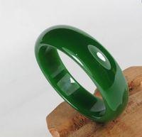 Wholesale 58mm Jade Bangle - Women Bracelet Bangles Round grade Genuine Dark Green with Snow Texture Indian Jewelry Jadeite Jade Bracelets with Wooden Box 58mm-62mm