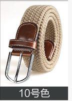Wholesale weaving needles wholesale - Wholesale-Elastic waistband 31 color's woven elastic woven belt men women's needle han edition tide belt buckle Fashion belt Free