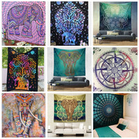 Wholesale fashion hippies - Fashion Hippies Throw Yoga Tapestry For Home Background Decorations Bohemian Beach Towels Many Styles Super Soft Tablecloth 17caa CZ