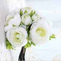 Wholesale Silk Flower Ranunculus - Artificial Ranunculus Bouquet in White Purple with greenery3 buds -11''Tall for Beautiful silk wedding Bridal Bouquets home decro gorgeous