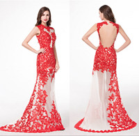 Red Lace Real Bild sehen durch Abendkleider Traditionelle Chinesische Tüll Appliques Sleeveless Robe De Soiree Günstige Long Party Prom Kleider
