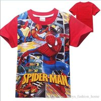 Wholesale Spiderman Shirts For Girls - 60PCS fashion t shirt girls' cartoon Spiderman tshirt Print Cotton t shirts children's kids summer tops for kids clothes boys BFH9