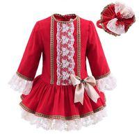 robe de rose rouge enfant achat en gros de-Pettigirl Nouvel Automne Rouge Filles Robes Avec Dentelle Chapeaux Vintage Enfants Dress Bontique Enfants Vêtements G-DMGD908-893