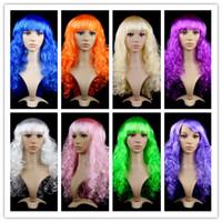 ingrosso lunghe parrucche colorate-Parrucche lunghe ricce piene delle ragazze delle donne per il vestito operato dal partito di Cosplay Parrucca variopinta ondulata lunga dei capelli ricci dai capelli sintetici del regalo Regalo