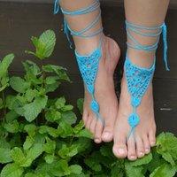 ingrosso sandali bianchi a crochet-Ragnatela ispirata - BIANCO - Triangoli all'uncinetto da donna Scarpe fatte a mano Design Sandali senza lacci Scarpe da sposa in pizzo da sposa