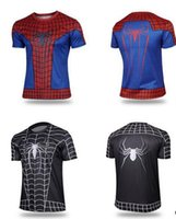 Wholesale Superman Lycra Tops - 2016 new t-shirt Batman Spiderman Ironman Superman Captain America Winter soldier Marvel T shirt Avengers Costume Comics Superhero mens