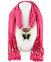 Wholesale wholesale butterfly scarves - Zinc alloy butterfly pendant scarves fringed womens necklace jewelry scarf multi colors gifts for girlfreind free shipping