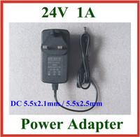 Wholesale 24v Adapter Plug - 50pcs AC 100-240V to DC 24V 1A Charger EU US UK Plug DC 5.5x2.1mm   5.5x2.5mm 5.5*2.1mm   5.5*2.5mm Power Supply Adapter