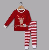 ingrosso ragazze di renne-Pigiama di alta qualità Set Natale Camicie di cotone rosso con motivo a renna e pantaloni a righe Pigiama Vestiti per ragazze CS41111-02