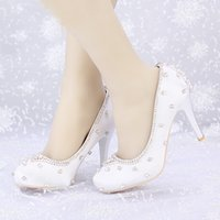 Fermé Toe Blanc Satin Chaussures de mariage Rhinestone Prom Party Talons hauts Luxueux Top Quality 8cm Heels Custom Handmade Platforms