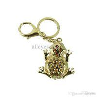 Wholesale Trendy Stylish Bag - Wholesale-A Stylish New Cat eye stone Frog Keychain Crystal purse Bag Key Chain ring key fob Gift,Free shipping