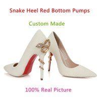 Wholesale Bridal Red Pumps - White Pearls Rhinestone Wedding Bridal Shoes For Brides Prom Party Evening Women Dress Shoes Fashion Red Bottom Stiletto Snake Heels Pumps