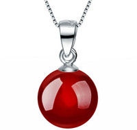 Wholesale Carnelian Sterling Silver - New Arrival Natural Red Black Agate Carnelian Pendant Necklace 925 Sterling Silver Women Wedding Pendant Necklace