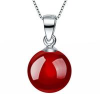 pendentifs d'agate rouge achat en gros de-Nouvelle Arrivée Naturel Rouge / Noir Agate Cornaline Pendentif Collier 925 Sterling Argent Femmes Pendentif De Mariage Collier