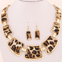 Wholesale Elegant Fashion Earrings - 2015 Jewellery Sets Fashion Popular Elegant Punk Geometric Leopard Link Chain Necklace Earring Sets Fashion Women Accessories
