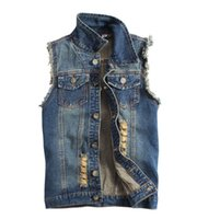 Wholesale Sleeveless Jacket For Boys - Plus Size M to XXXL Men's Boys Ripped Denim Vest Vintage Style Sleeveless Jean Jacket For Male Retro Blue Color