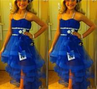vestido azul real de adolescente al por mayor-Halter Girls Vestidos del concurso de lentejuelas con cuentas Royal Blue Flower Girl Dress para adolescentes Tulle Sash Kids Formal Wear Vestido de fiesta de las muchachas