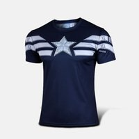 Wholesale Avengers Tshirts - Wholesale-The Avengers Shirt Captain America T Shirt Compression Tights Sports Clothing Quick Dry Fit Men Short Sleeve Movies Tshirts 6XL