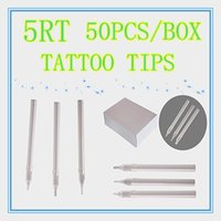 Wholesale Disposable Tattoo 5rt - Box Of 50 Round Size 5RT White Disposable Long Tattoo Tips Hiht Quality Nozzle Supply HLDT-A-5RT