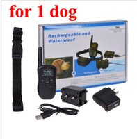 Wholesale Display Vibration - For 1 dog Rechargeable and Waterproof Remote Electric Shock Anti-bark Pet Dog Training Collar with LCD display 300meters 20set lot