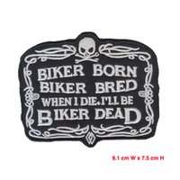 Wholesale Embroidered Hat Custom - cool biker patch iron on hot cut border use in cloth hat or bag free shipping can be custom embroidery factory in china