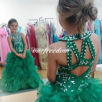 Wholesale Crystal Sequin Communion Dresses - Custom Lovely Green Ball Gown Flower Girl Dresses with Ruffles 2016 Girls Formal Gown Crystals Sequins Flower Girl Dresses for Weddings