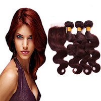 Wholesale burgundy red hair weave closure for sale - Group buy Brazilian Peruvian Burgundy Hair with Lace Closure Body Wave J Dark Root Wine Red Ombre Virgin Hair Weaves Bundles with x4 Lace Closure