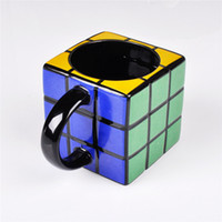 Wholesale Container Cube - Novelty Magic Cube Shaped Ceramic Coffee Mug Rubik's Cube Tea Cup Beverage Container Drinkware