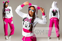 Wholesale Micky Pant - New Autumn and Winter Fashion Clothing Set Women Casual Hooded Sweatshirt Micky Mouse Sport Suit Female Hoodies + Pant 2pcs se