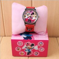 Wholesale Resin Minnie Mouse - 2016 Minnie Wristwatches Children watch cartoon Mickey Mouse Boxed Cartoon Christmas gift wristwatch with box