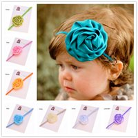 Cheap Tiaras Baby Rose Bow Headband Best Chiffon Solid Baby Hair set