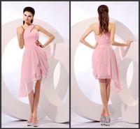 Wholesale Short Light Pink Bridesmaid Dress - Light Pink Bridesmaid Dresses One Shoulder Chiffon Short Junior Maid oF Honor Wear Goen Girl Prom Dress Graduation COcktail Wear Club SHJ