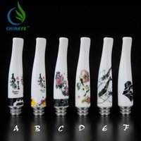 Wholesale Ee2 Vapor - E Cigarette Ceramics drip tips Mouthpiece Chinoiserie Styles Fit EE2 EGO Atomizer 510 Clearomizers eGO vapor vaporizer